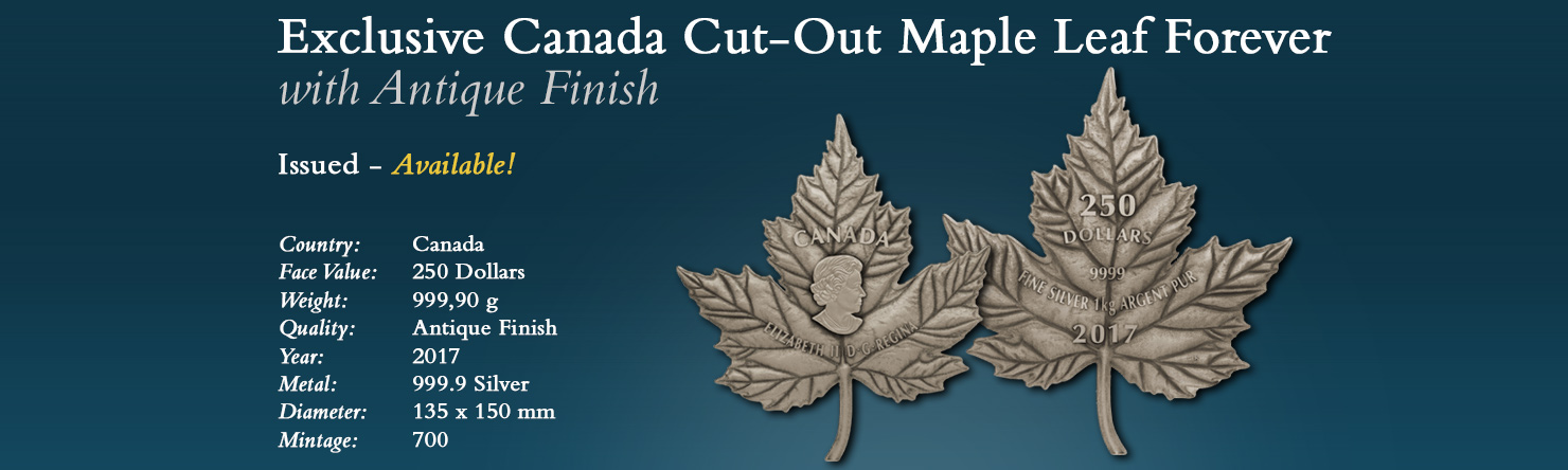Canada Cut-Out Maple Leaf Forever with Antique Finish - Modern Numismatics International