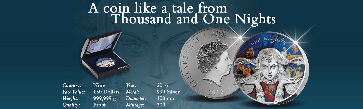 Thousand and One Nights 999 Silver 150 Dollars coin