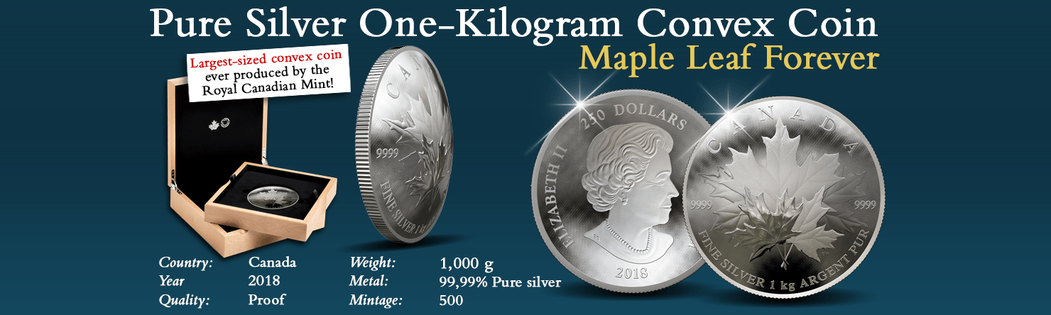 Pure Silver Convex Kilogram Coin 2018