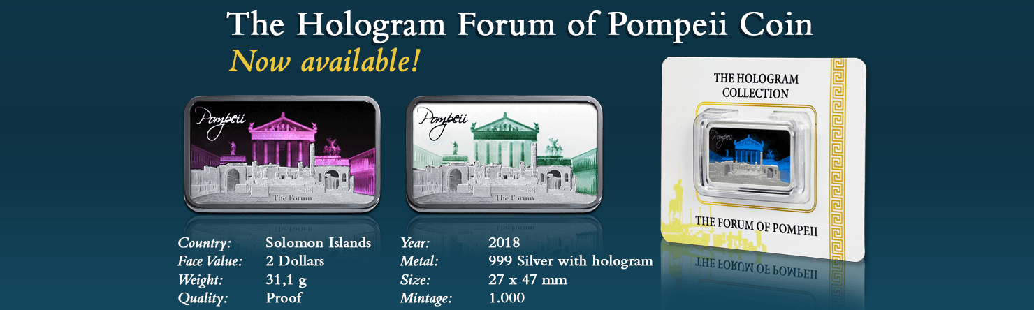 Pure Silver Forum of Pompeii Hologram Coin 2018